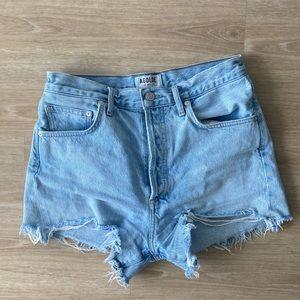 Agolde Hi-Waisted Button-Up Light Jean shorts 28